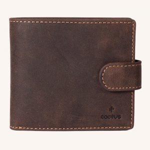 Tab Leather Wallet Brown