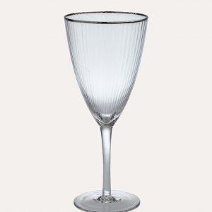 Italia Silver Rimmed Wine Glass