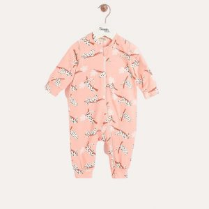 Brittany Zip Up Playsuit Peach Leopard