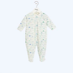 Sardinia Blue Buttoned Sleepsuit
