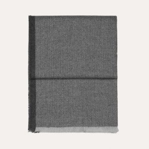 Herringbone Baby Alpaca Throw Light Grey