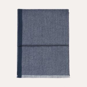 Herringbone Baby Alpaca Throw Dark Blue