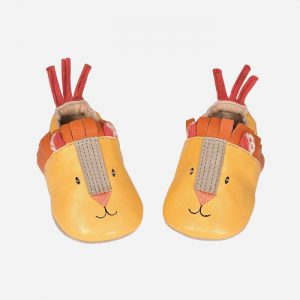 Les Papoum Yellow Lion Leather Slippers