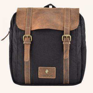 Leather Flap Back Pack Black