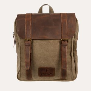 Leather Flap Back Pack Khaki