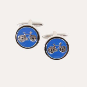 Bicycle on Blue Cufflinks
