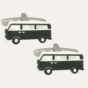 Campervan Green & White Cufflinks
