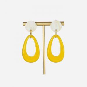 Lacquer Teardrop Earrings Yellow