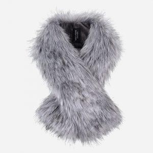 Faux Fur Tippet Scarf Silver