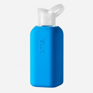Glass Bottle with Blue Silicone Sleeve