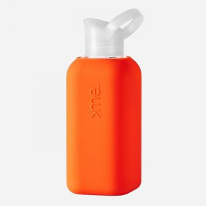 Glass Bottle with Coral Orange Silicone Sleeve