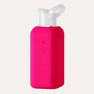 Glass Bottle with Pink Silicone Sleeve