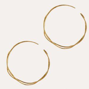 Fine Twist Hoop Earrings Gold