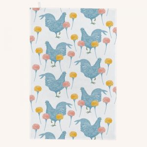 Chicken and Carnation Tea Towel