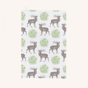 Stag and Mistletoe Tea Towel