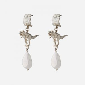 T-Rex and Pearl Drop Hoops Earrings Silver