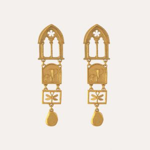 Discovery Statement Drop Earrings Gold