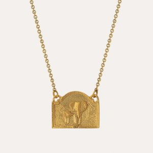 Elephant In-Line Diorama Necklace Gold
