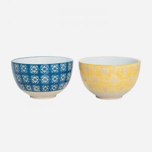 Small Bowl Patterned Set Blue/Yellow