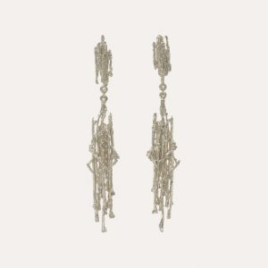 Nest Structure Drop Earrings Silver