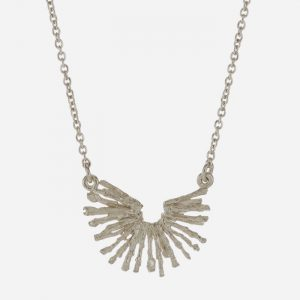 Nest Structure Cresent Necklace Silver