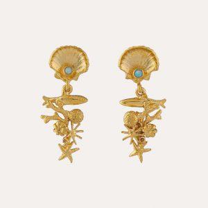 Coral Reef Stud Drop Earrings Gold