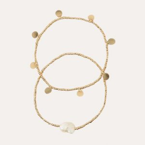Pearl and Coin Stretch Bracelets Set