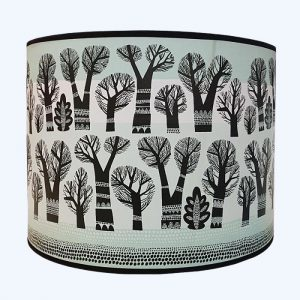 Winter Trees Pendant Lampshade Large Teal