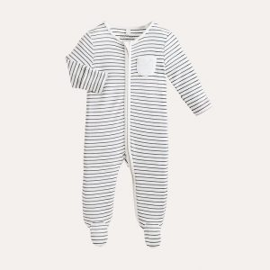 Zip-Up Sleepsuit Grey Stripe