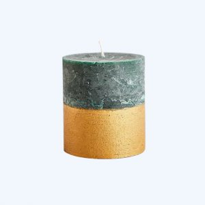Winter Thyme Scented Gold Dipped Pillar Candle