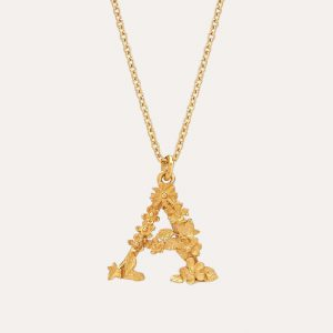 Floral Letter A Necklace Gold