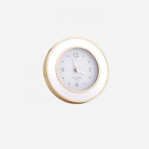 White Enamel Gold Alarm Clock