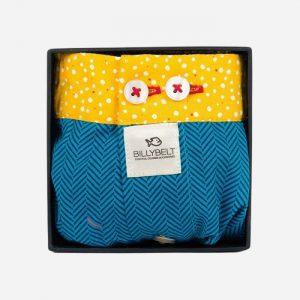 Cotton Boxer Shorts Blue Herringbone