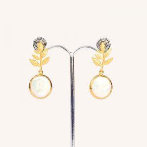 Leaf Pearl Drop Earrings Brushed Gold