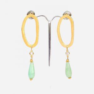 Oval Long Drop Earrings Mint