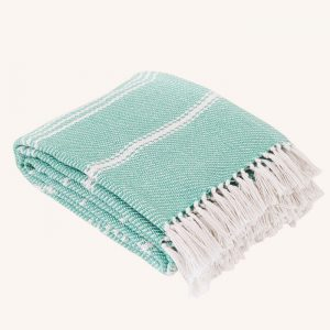Oxford Stripe Blanket Aqua