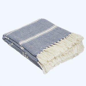 Oxford Stripe Blanket Navy