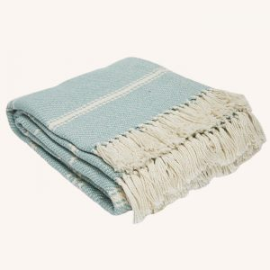 Oxford Stripe Blanket Teal