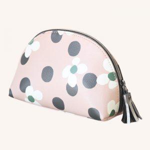 Floral Spot Half Moon Cosmetic Bag