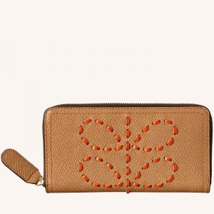 Laced Stem Leather Big Zip Wallet Honey