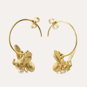 Flying Bee with Pearl Hoop Earrings Gold