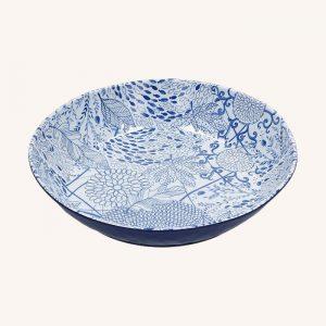 Blue Melamine Spaghetti Bowl