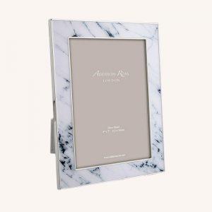 Marble Enamel Silver Wide Frame