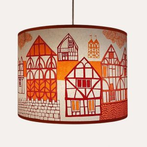 Tudor Village Lampshade Orange/Plum Pendant