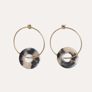 Gold and Tortoiseshell Front Facing Hoops