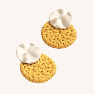 Gold and Yellow Rattan Earrings