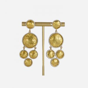 Multi Circle Drop Earrings Brushed Gold