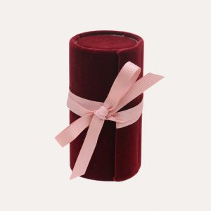 Mini Jewellery Box Roll Burgundy Velvet