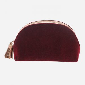 Burgundy Velvet Half Moon Cosmetic Bag