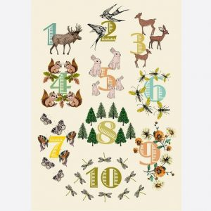Woodland Numbers A3 Print